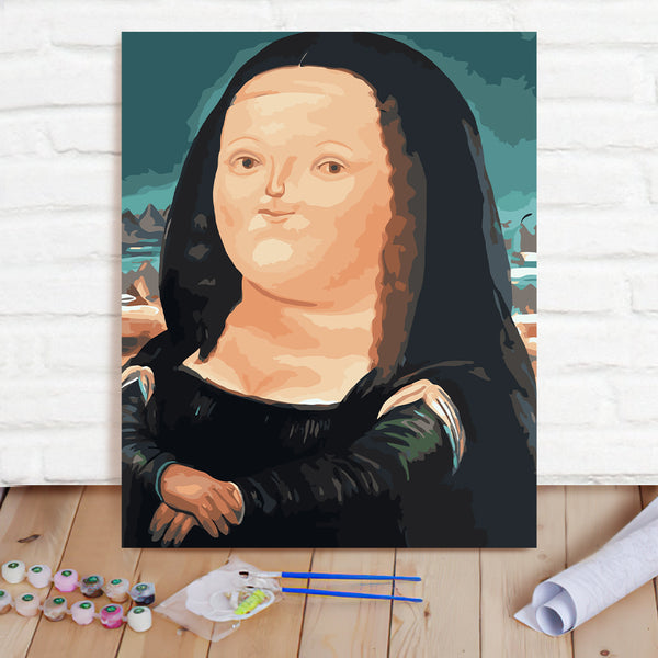 DIY Paint By Numbers Custom Photo Painting Home Decor Wall Hanging-Q Version Of Mona Lisa Painting