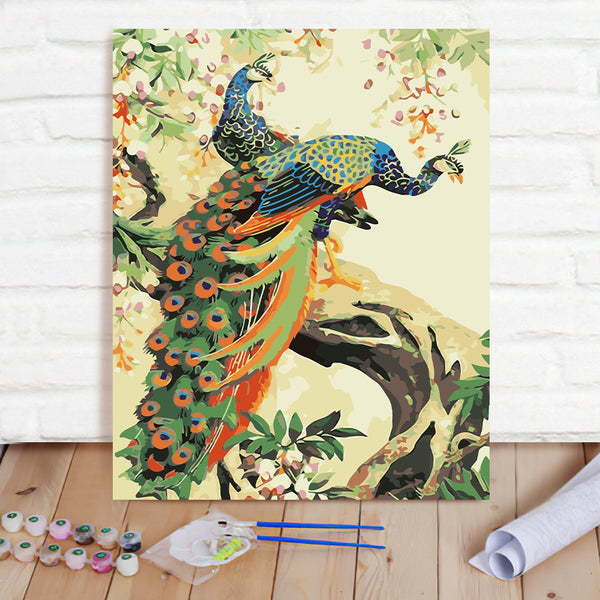 DIY Paint By Numbers Custom Photo Painting Home Decor Wall Hanging-Two Peacocks Painting