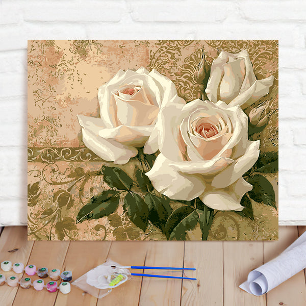 DIY Paint By Numbers Custom Photo Painting Home Decor Wall Hanging-White Flowers Painting