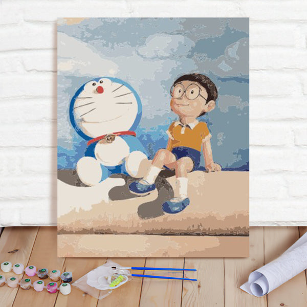 DIY Paint By Numbers Custom Photo Painting Home Decor Wall Hanging-Big Bear And Doraemon Painting