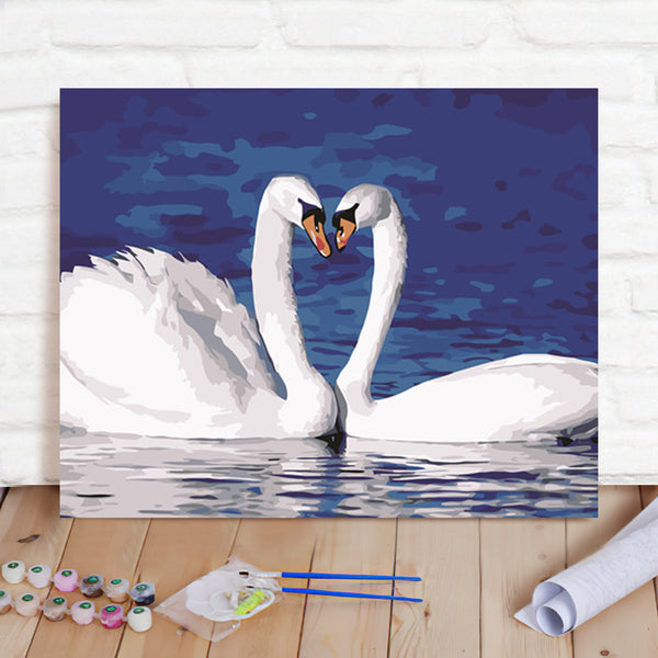 DIY Paint By Numbers Custom Photo Painting Home Decor Wall Hanging-Two White Swans Painting