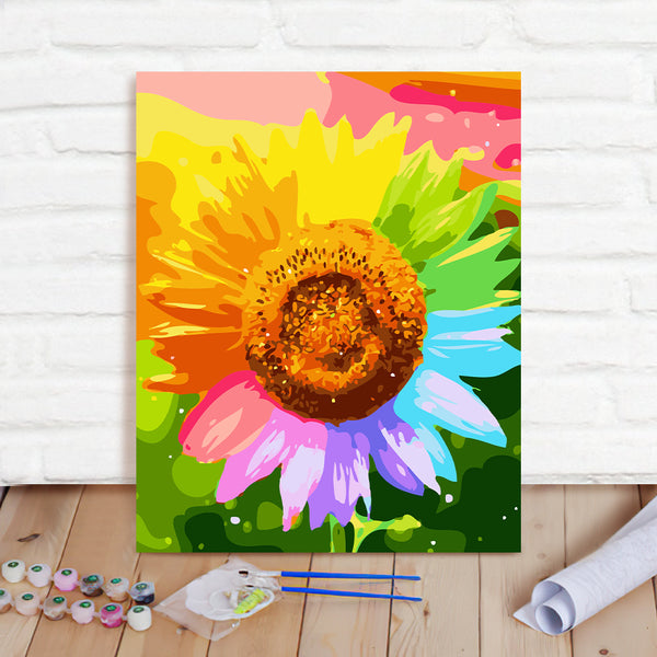 DIY Paint By Numbers Custom Photo Painting Home Decor Wall Hanging-Colored Sunflowers Painting