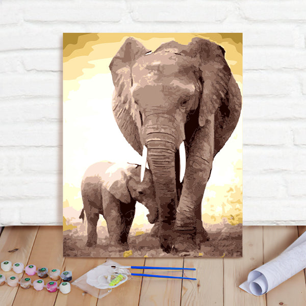 DIY Paint By Numbers Custom Photo Painting Home Decor Wall Hanging-Elephant And Baby Elephant Painting