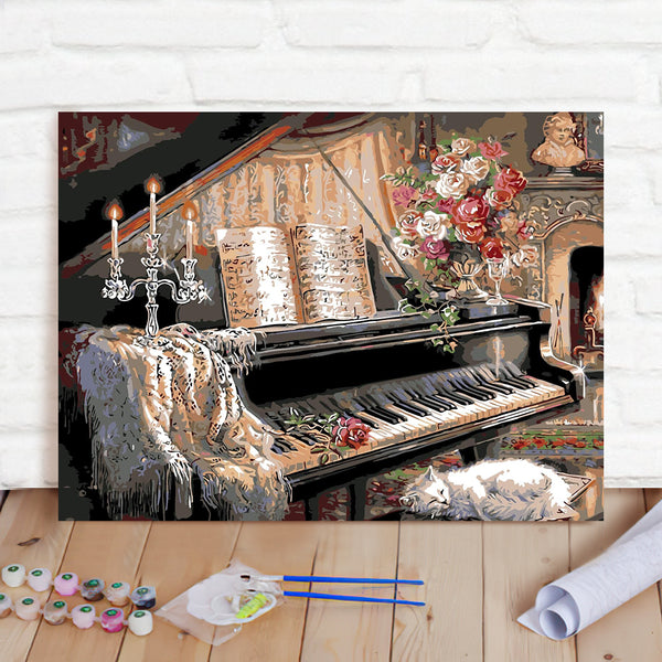 DIY Paint By Numbers Custom Photo Painting Home Decor Wall Hanging-Piano Room Painting