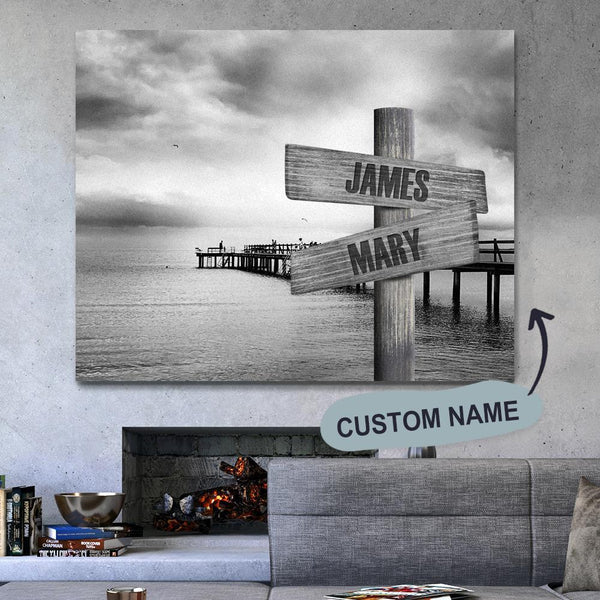 Custom Name Gray Dock Wall Decoration Canvas Painting With Frames