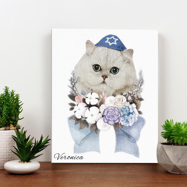 Canvas Wall Art Curious Pets Cat Artwork for Home Prints Framed