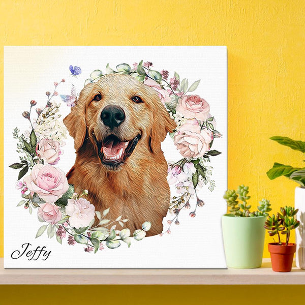 Funny Dog Art Prints Colorful Pet Canvas Wall Art Framed