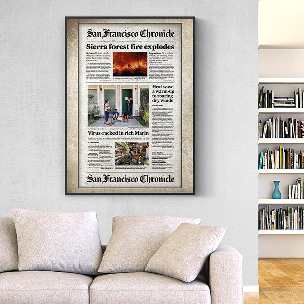 San Francisco Chronicle Canvas  Personalized From A Specific Date Your Memory Day