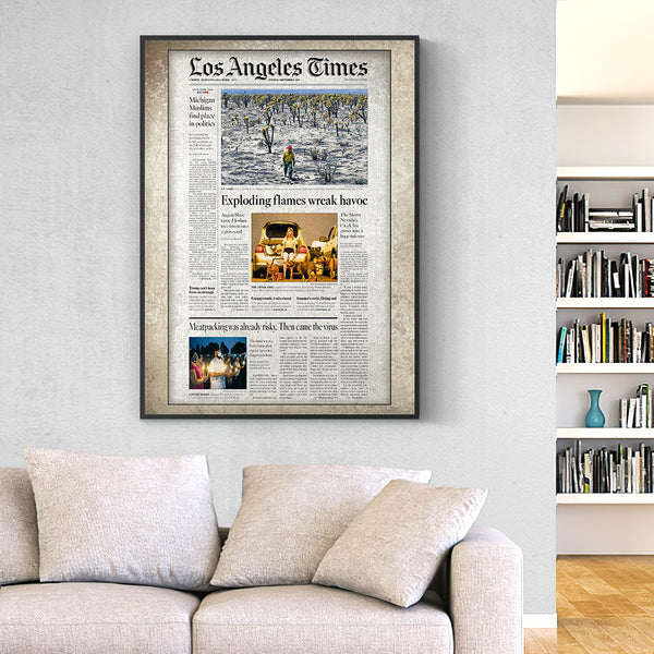 Los Angeles Times Canvas  Personalized From A Specific Date Your Memory Day