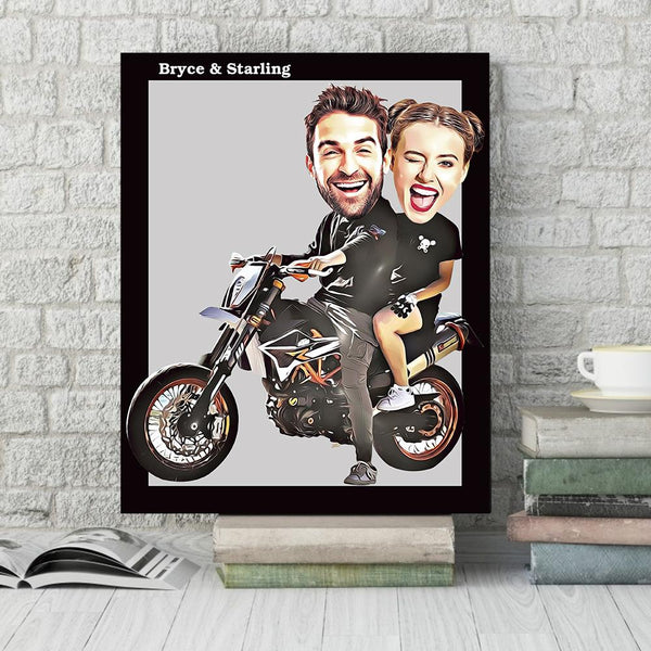 Father's Day Gift Custom Animated Motorcycle Photo Wall Decor Painting Canvas With Names