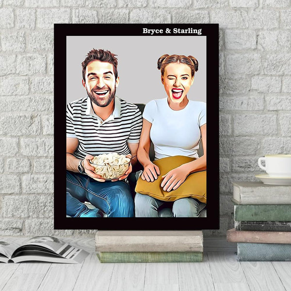Custom Animated Photo Wall Decor Painting Canvas With Couple Names