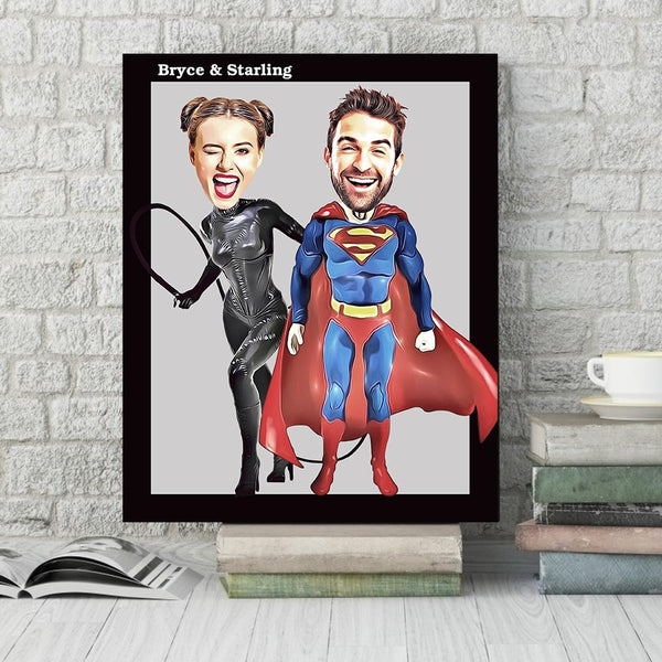 Custom Animated Superhero Photo Wall Decor Painting Canvas With Couple Names