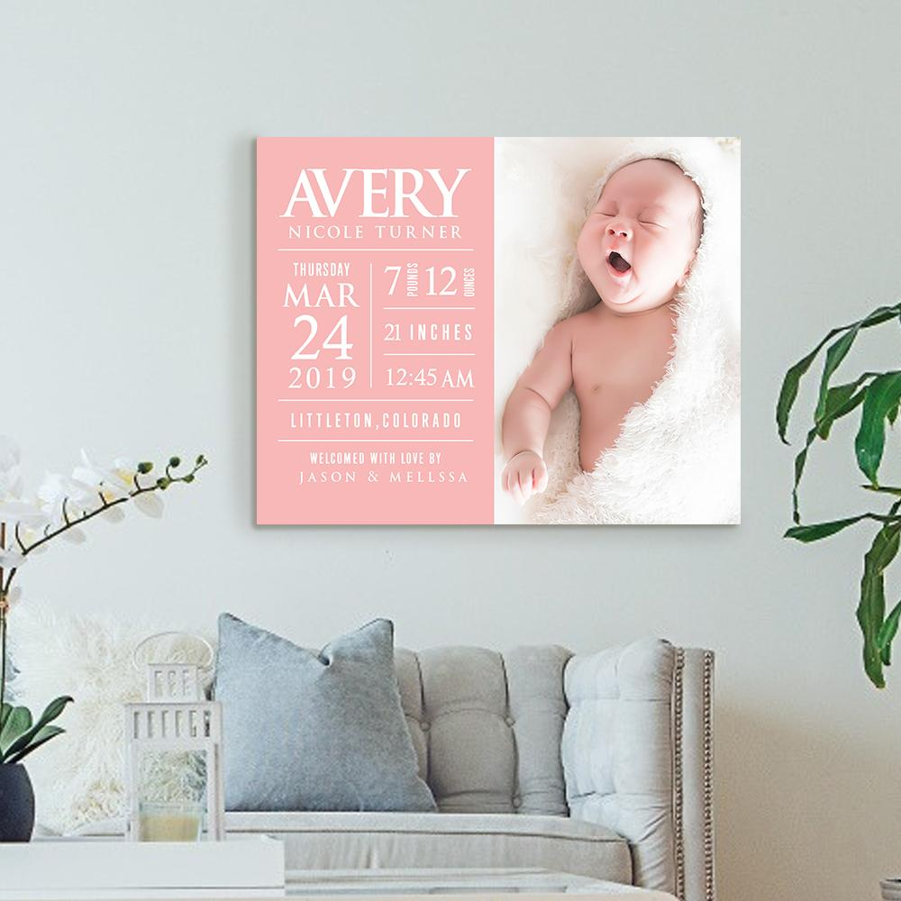 Custom Information Photo Name Wall Decor Painting Canvas for Baby¡¯s Birthday Family Love