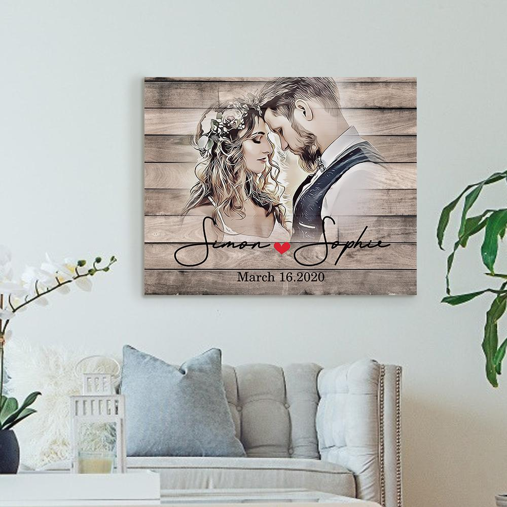 Custom Photo Anniversary Wall Decor Painting Canvas With Couple Names for Memorable Date