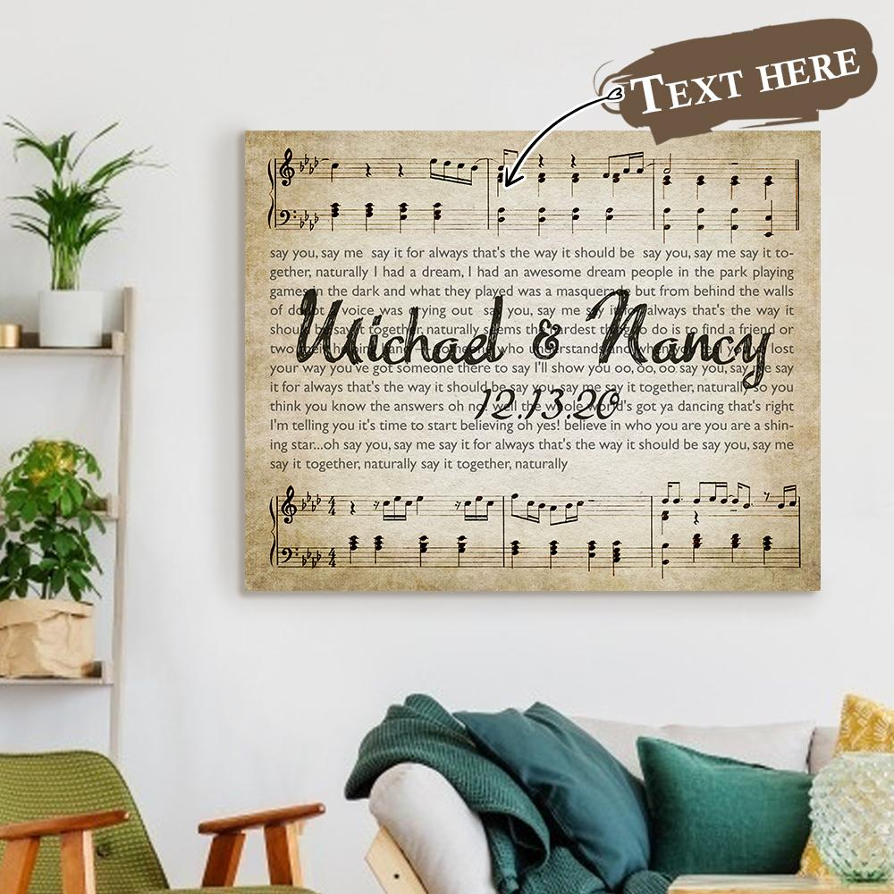 Valentine's Day Gift Custom Lyrics Text Anniversary Lyrics Wall Decor Painting Canvas With Couple Names for Memorable Date