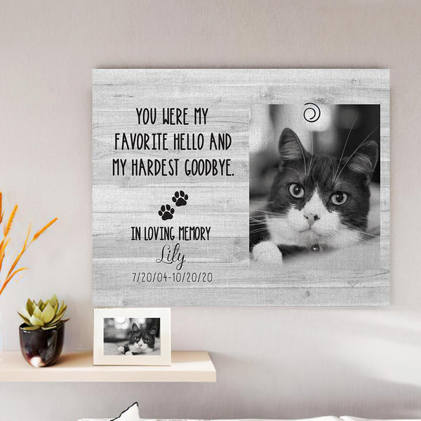 Custom Photo Canvas Frame Pet Loss Gifts Personalized Cat Memorial Frame Cat Bereavement Gift Pet Sympathy Gift Pet Loss Frame