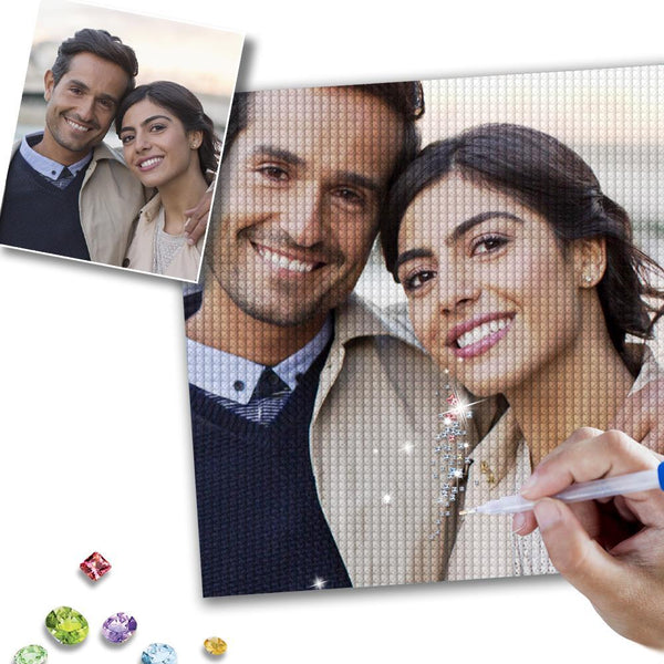 5D DIY Custom Happy Couple Photo Full Square/Round Drill Diamond Painting Valentine's Day Gift