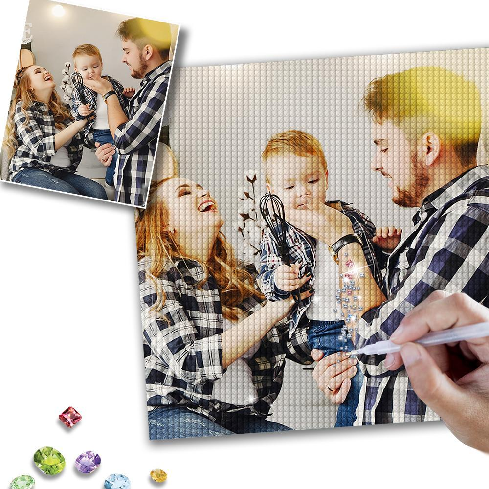Custom Happy Family Photo DIY Diamond Painting Unique Gift for Family