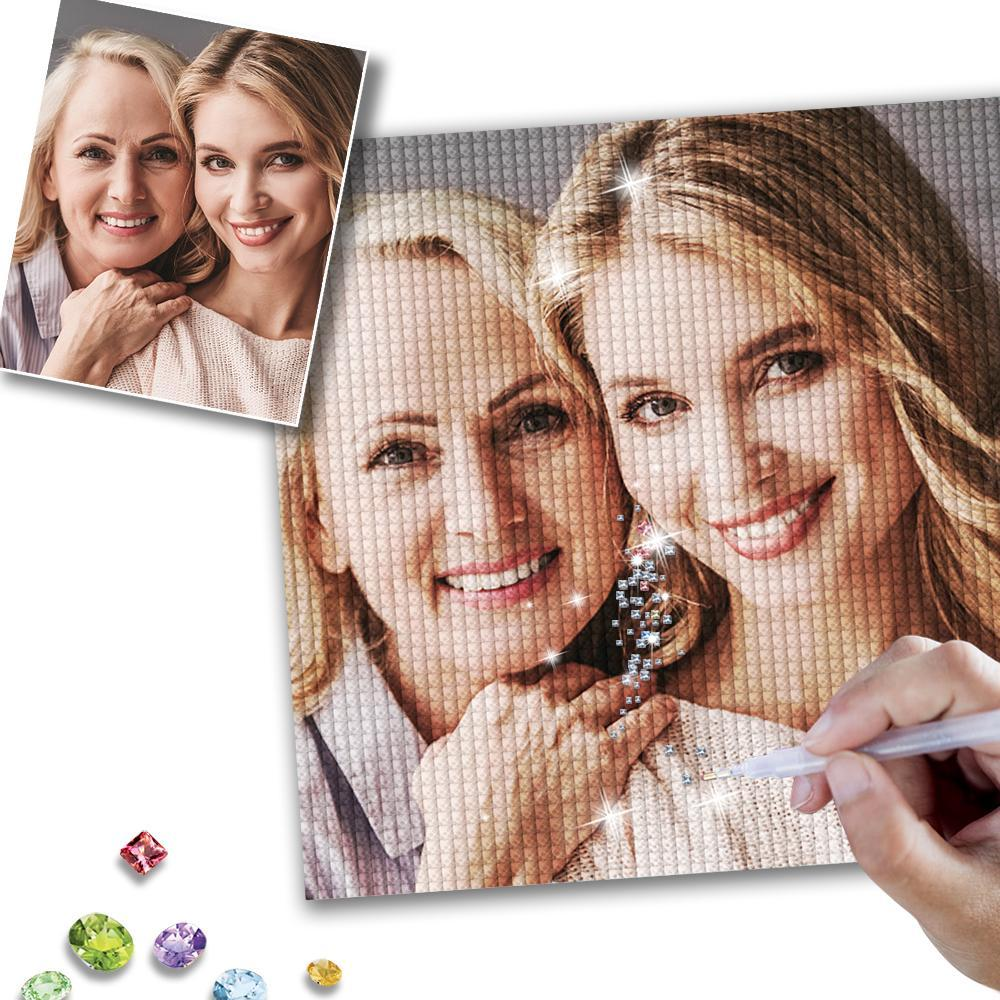Custom  Mother And Daughter Photo Senior Full Square/Round Drill Diamond Painting