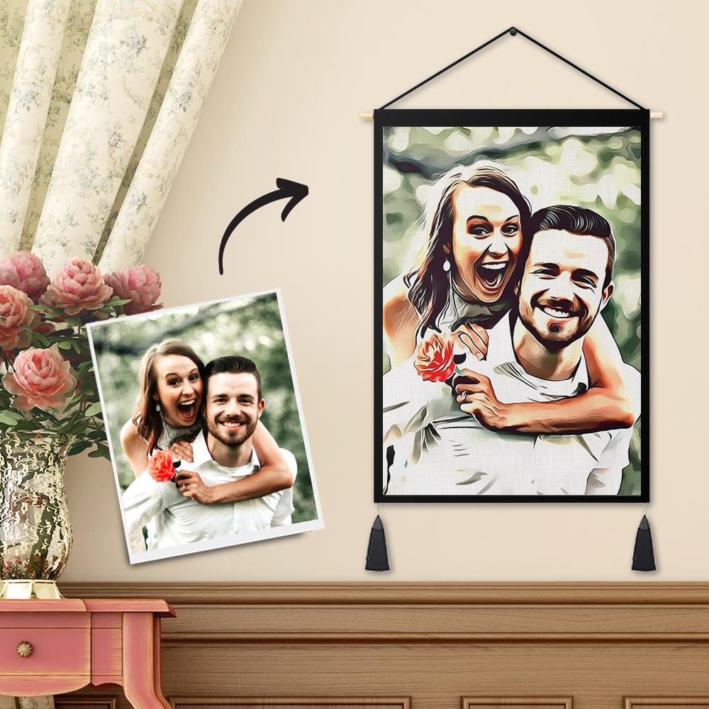 Personalized Custom Couple Photo Tapestry - Wall Decor Hanging Fabric Art Painting Hanger Frame Poster