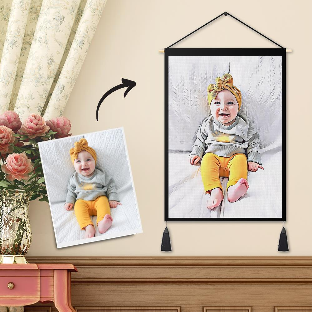 Personalized Custom Baby Photo Tapestry - Wall Decor Hanging Fabric Painting Art Portrait Hanger Frame Poster
