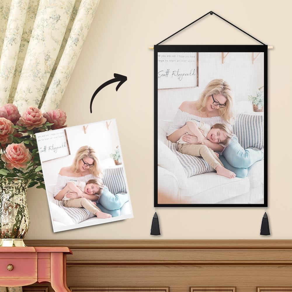 Custom Mother and Daughter Photo Tapestry - Wall Decor Hanging Fabric Painting Hanger Frame Poster