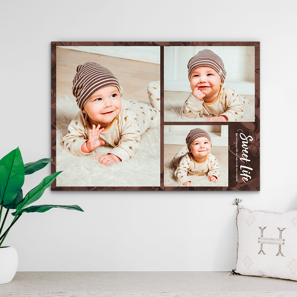 Custom Photo Collage Print-Photo On Canvas(Upload 3 Pictures) NO FRAME