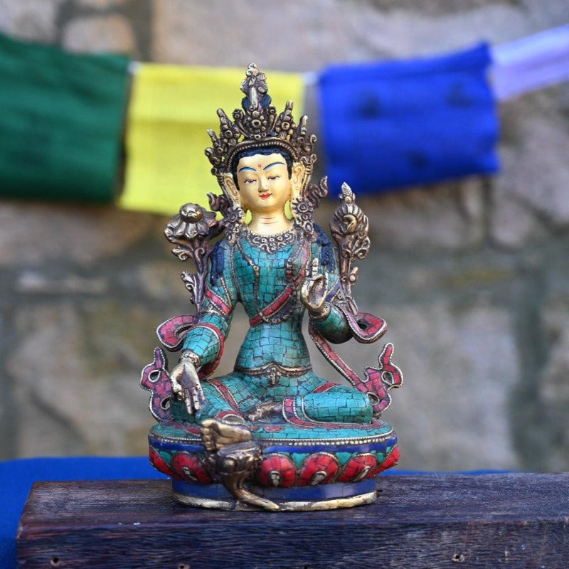 Green Tara Stone Statue - the five clouds