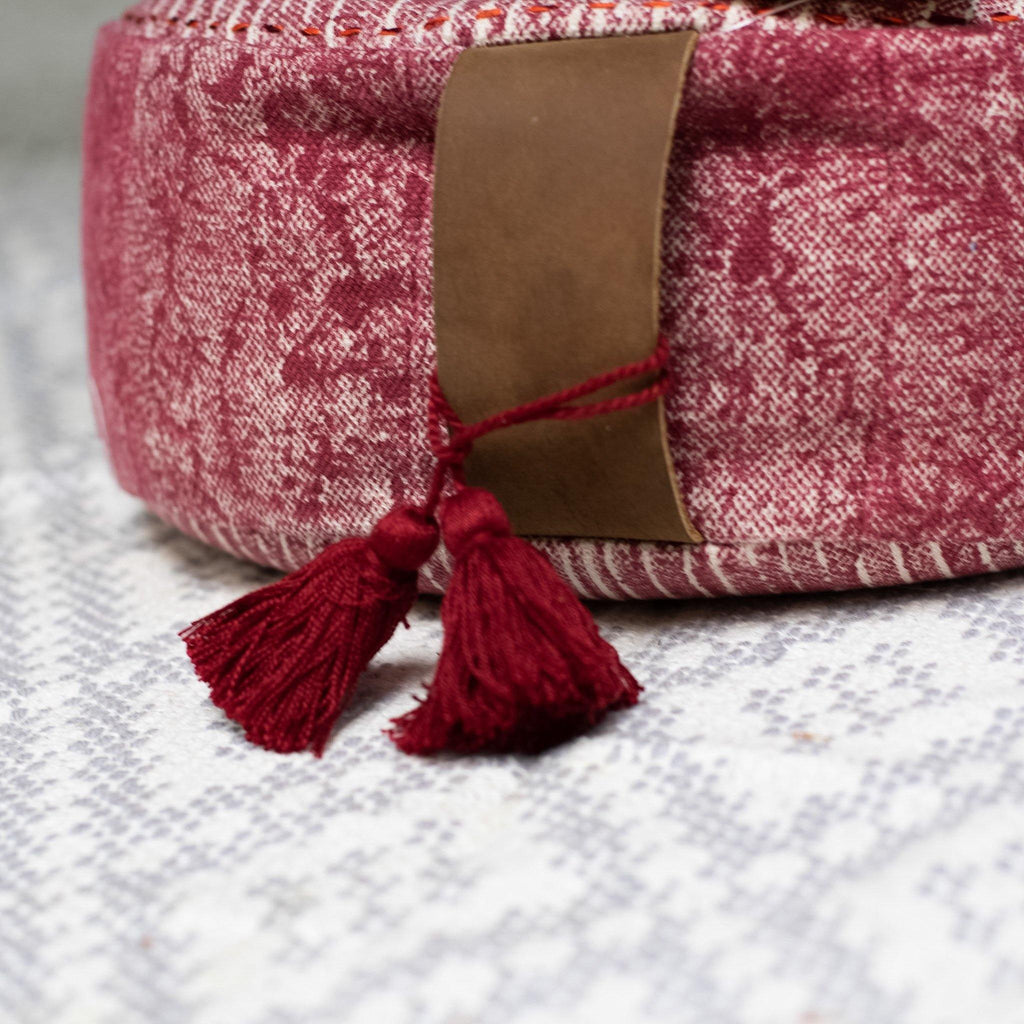 Round Buckwheat Meditation Cushion in Red - the five clouds