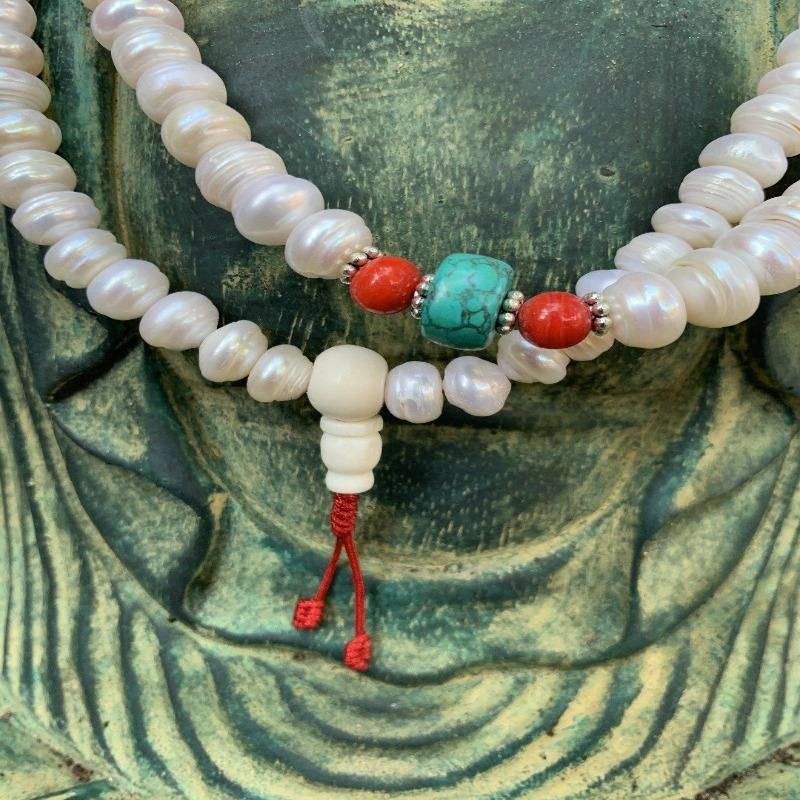 Freshwater Pearl Mala Beads - the five clouds