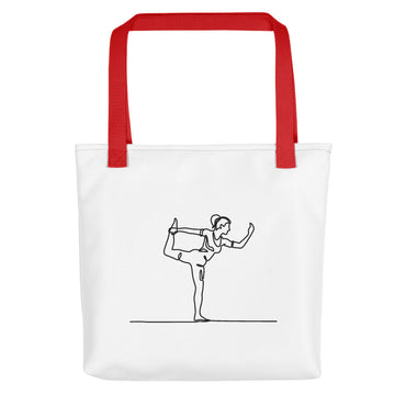 "Tote Bag With ""Yoga One Leg Stand Graphix"""