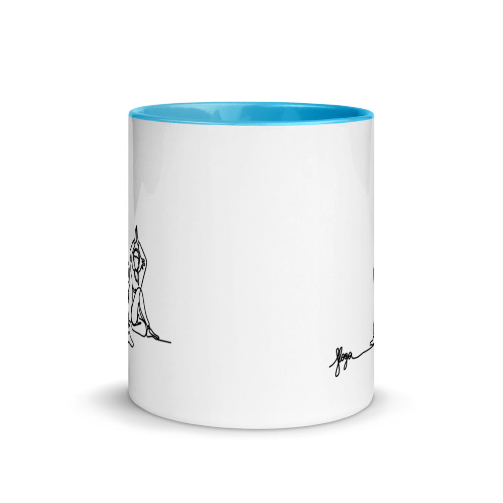"Coffe Cup With Color Lip And ""Yoga Sitting Pose Graphix"""""