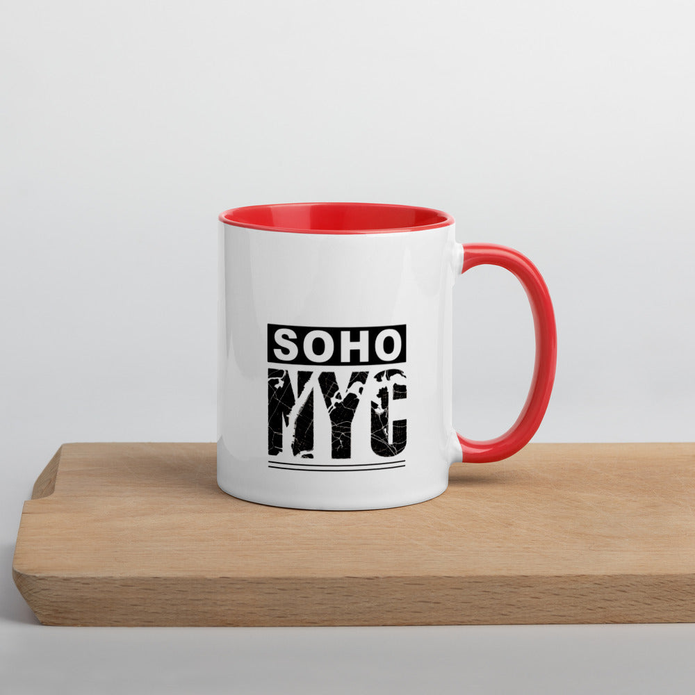 "Coffe Cup With Color Lip And ""SoHo NYC Map Grafix"""