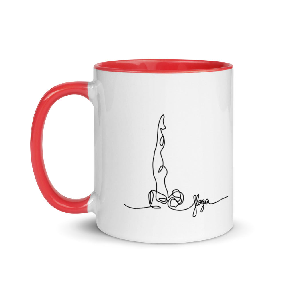 "Coffe Cup With Color Lip And ""Yoga Shoulder Stand Graphix"""""