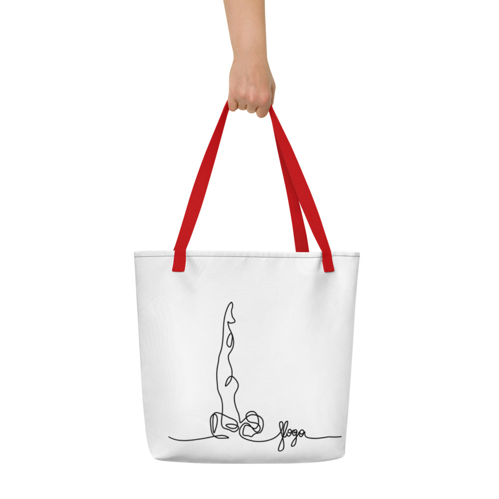 "Beach Bag With ""Yoga shoulder Stand Graphix"""