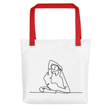 "Tote Bag With ""Yoga Back Stretch Graphix"""