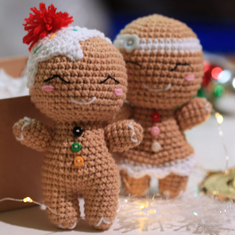 Chippi & co. gingerbread doll couple ornament, gift for her, gift for him, valentine gift, gift for couple