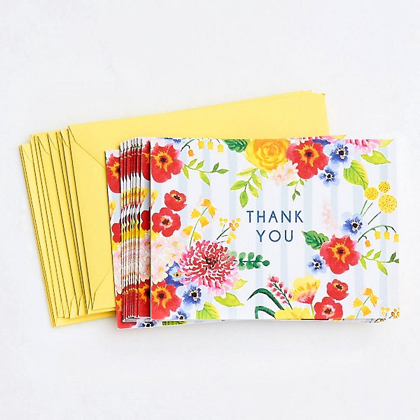 Floral Striped Thank You Cards, Set of 10