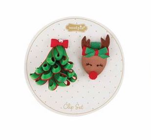 Ribbon Tree and Reindeer Hair Clips