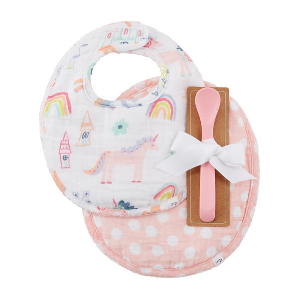 Unicorn Muslin Bib & Spoon Set