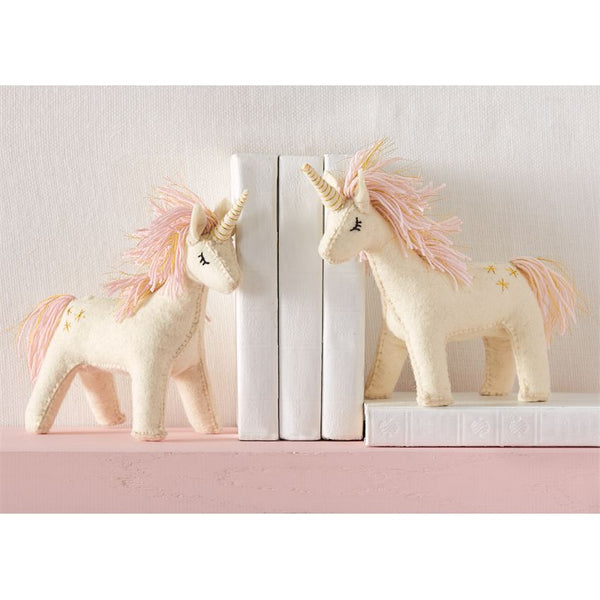 Hand-Crafted Wool Unicorn Bookends - Set of 2