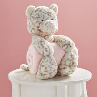 Leopard Plush with Pink Blanket