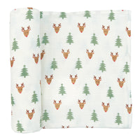 Reindeer & Tree Muslin Christmas Swaddle
