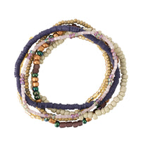 Purple Tones Seed Bead Stackable Bracelet Set