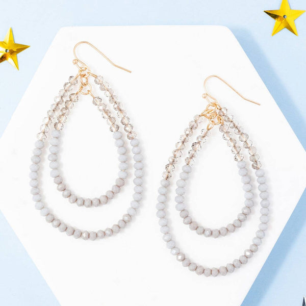 Double Beaded Teardrop Dangle Earrings, Gray