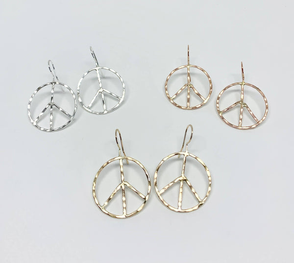 Small Rustic Peace Sign Earrings