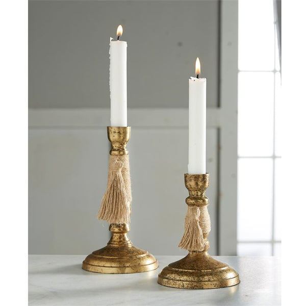 Brass Taper Candleholder with Tassel