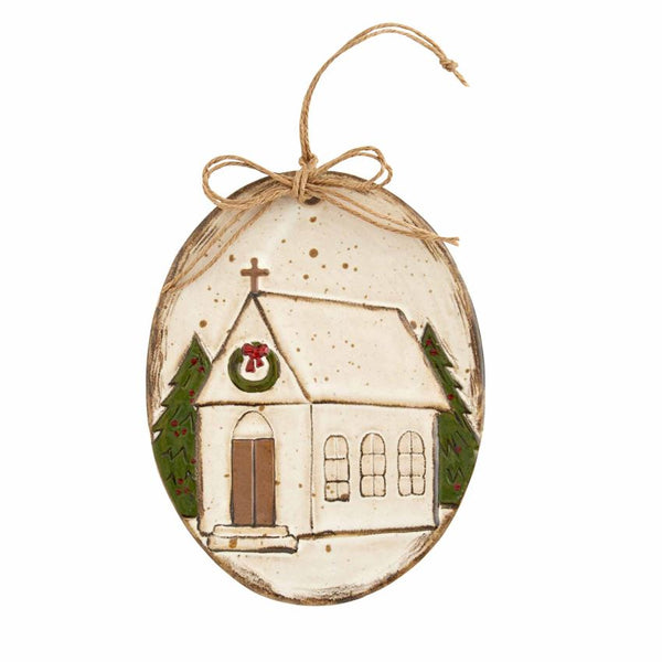 Stoneware Church Ornament