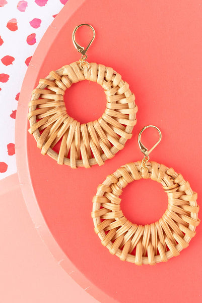 Handwoven Rattan Circle Dangle Earrings