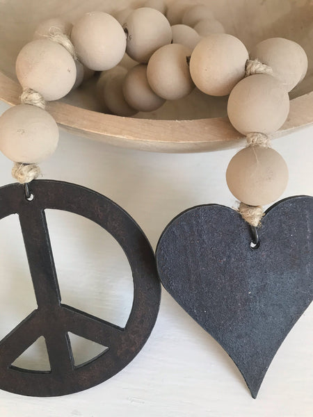 Stone Mini Love Beads with Peace Sign